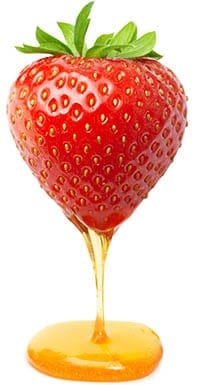 Strawberry covered in honey